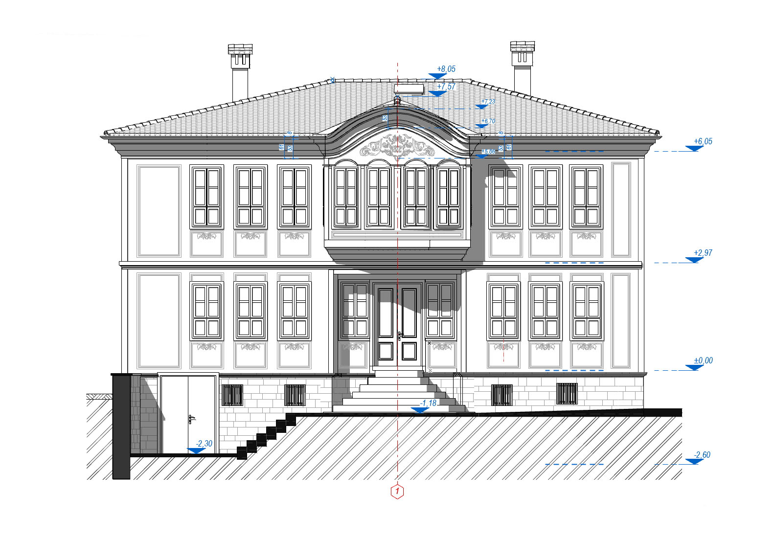 Front Elevation Generated Drawing